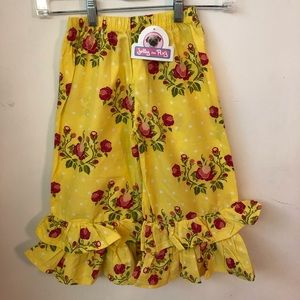 NWT Jelly the Pug Yellow Floral Ruffle Pants - 5